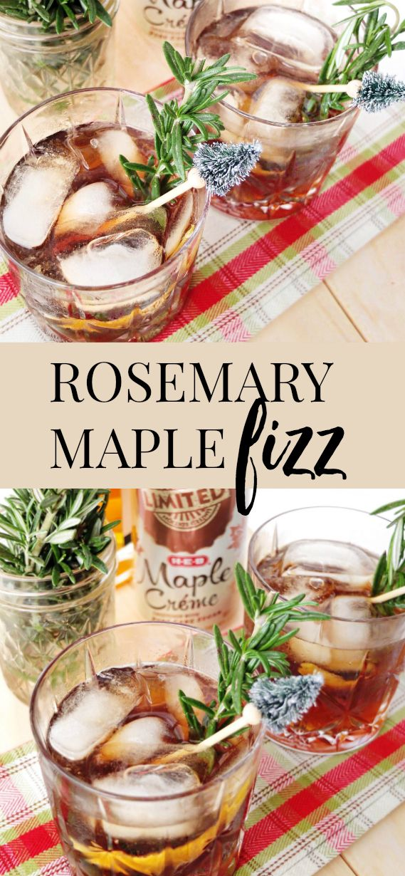 An easy whiskey holiday cocktail that can serve a crowd. Made with @mytexaslife H-E-B's Maple Crème Soda, lemon, rosemary, and whiskey.  Great for Holiday entertaining. #AD #HEBLove // www.ElleTalk.com