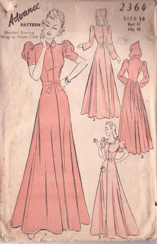 1940s Vintage Sewing Pattern HOUSE COAT (106)