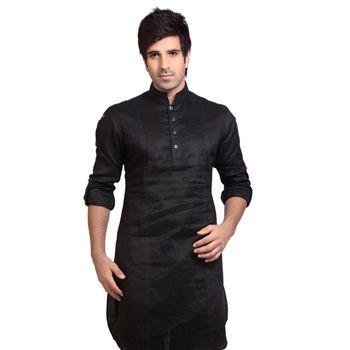 Black Ramie Linen Readymade Kurta Pajama
