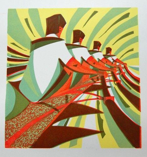 """The Four"" by Paul Cleden (linocut)"