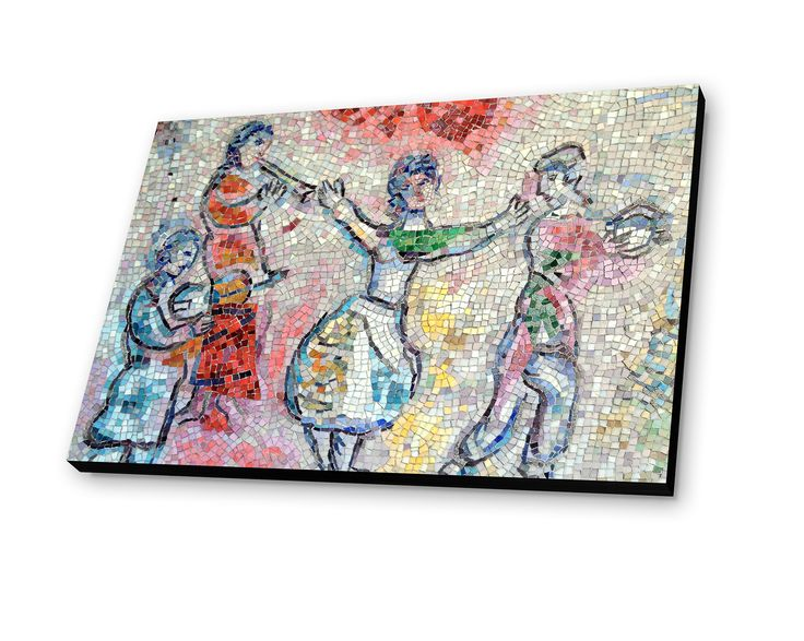 Mosaic in chicago by marc chagall painting print plaque for Chagall mural chicago
