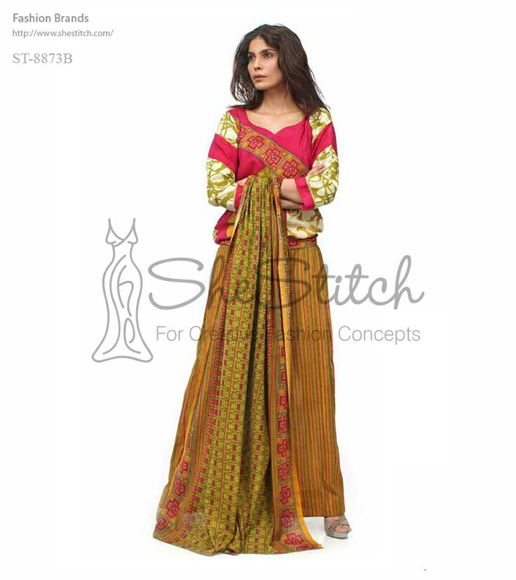 Price: $12 - ST-8873B is a beautiful multicolored three-piece suit in which prominent colors are tea pink,