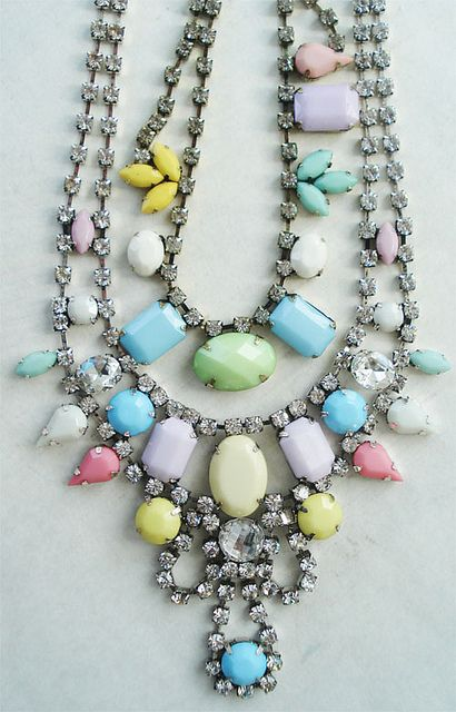 Pastel Rhinestone Necklaces by such pretty things, via Flickr