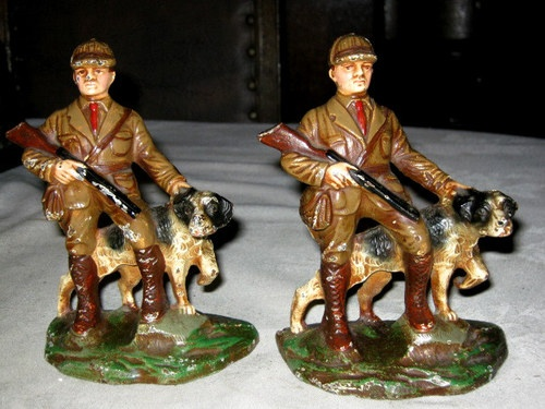 RARE ANTIQUE HUBLEY CAST IRON HUNTER SPORT MAN DOG ART