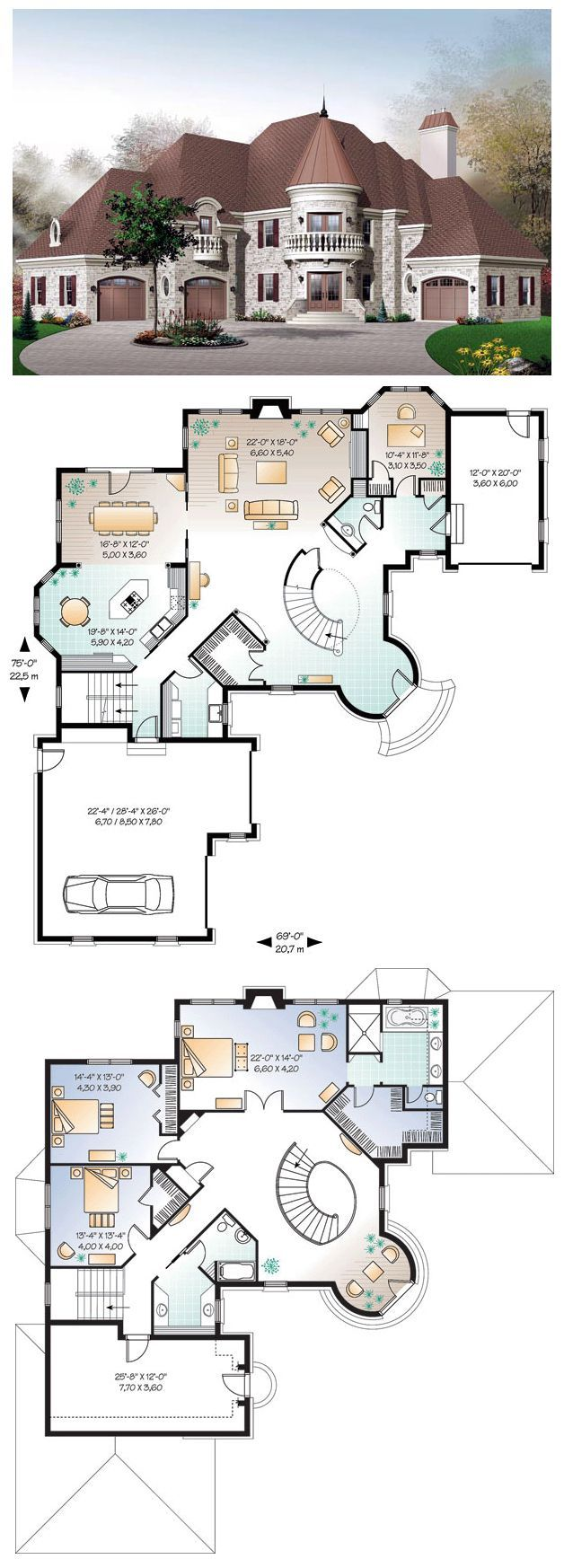 Luxury Houseplan 65361 This Dreamy Castle Inspired House Plan Features A Dramatic Turret Style Entry Planos De Casas Disenos De Casas Diseno De Casa Planos