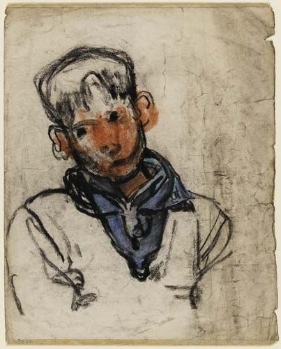Joan Eardley, 1921-1963, 'Big Ears' ?1950s, Pastel on paper | The Fitzwilliam Museum