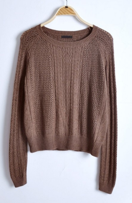 Coffee Round Neck Long Sleeve Hollow Sweater