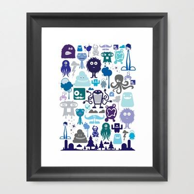 "Monstropilos: Cool  by CreativeNeesh  Framed Art Print / Scoop Black MINI (10"" x 12"") $39.00"