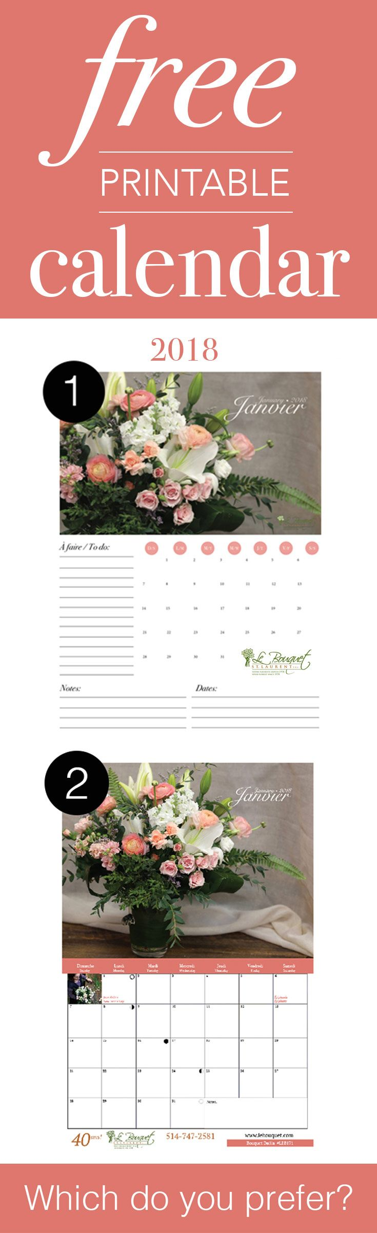 Free printable calendars in two styles from Montreal florist Le Bouquet St Laurent!