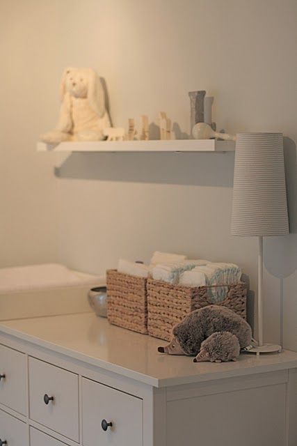 Dresser/Changing table - Use baskets to keep diapers on top of changing table ready to use