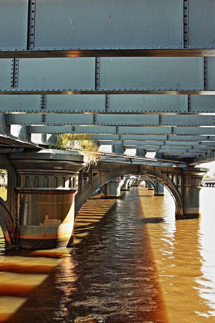 Under the bridge on the Yarra River