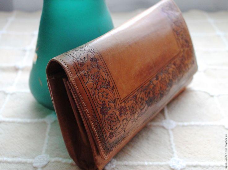 Купить Сумка клатч из натуральной кожи 60-е годы - рыжий, клатч из кожи