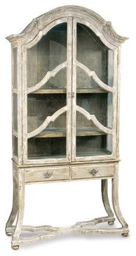 dauphine french country antique beige display case cabinet traditional bookcases cabinets and computer armoires