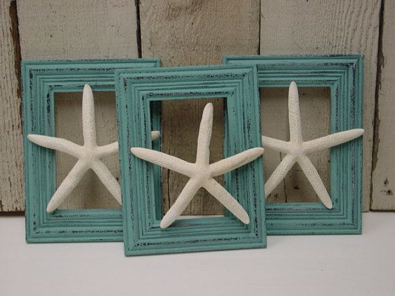 FLOATING FINGERLING STARFISH / set of 3 / shabby aqua frames / beach theme…