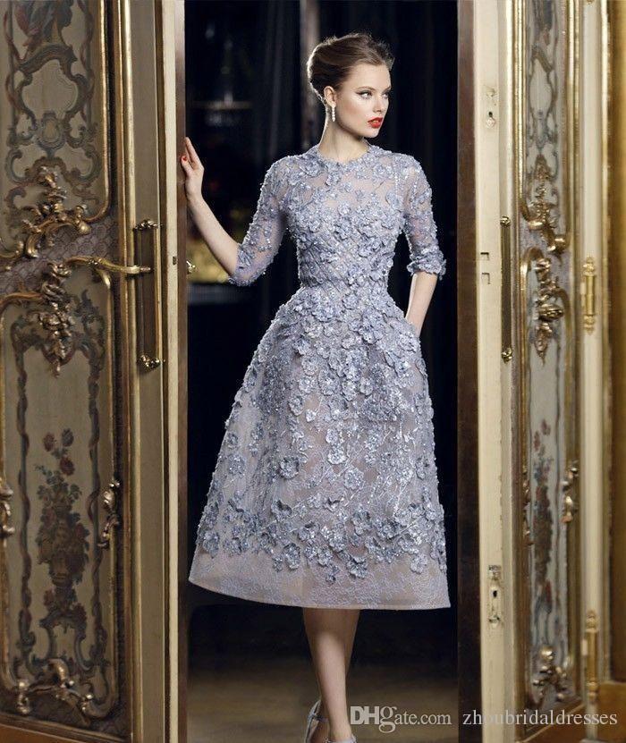 Elie Saab robes de soirée Sheer O cou moitié manches avec dentelle Applique perles thé-longueur formelle une ligne robe de soirée sur mesure 2