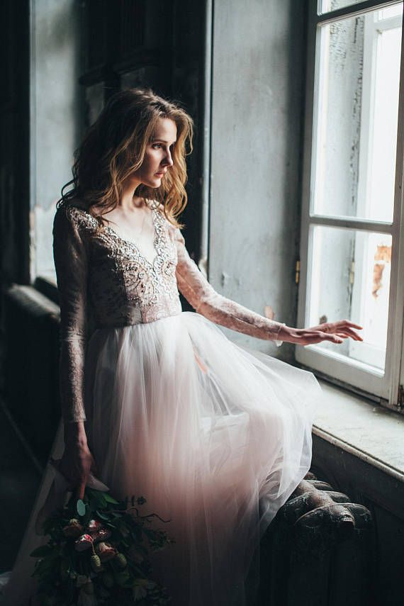 Blush wedding dress with tulle skier and lace top with hand embroidery. This dress is so delicate and airy like a cotton candy! The top part is made with unique french lace and fully lined with a softest silk. The neckline is embroidered by hand with rhinestones, crystals and beads. The