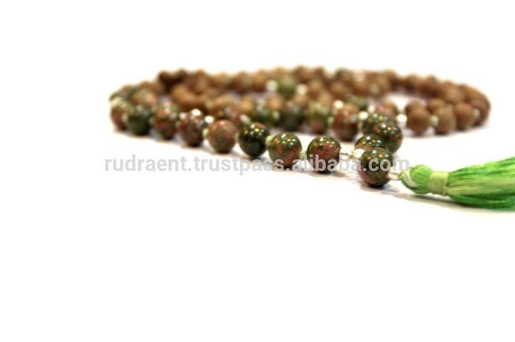 Unakite, Sandalwood Gemstone Mala Beads, Boho Tassel Mala Necklace