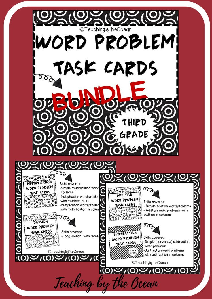 Here's a fun way to add more practice for your students. These Word Problem Task Cards will help you teach, reinforce, or review in order your students to master this skill.  Skills covered: - Simple addition word problems - Addition word problems with addition in columns   - Simple (horizontal) subtraction word problems - Subtraction word problems with subtraction in columns   - Simple multiplication word problems - Multiplication word problems with multiples of 10 - Multiplication word…