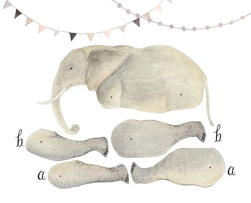 Elephant Articulated Paper Doll Printable Digital by ohmycavalier