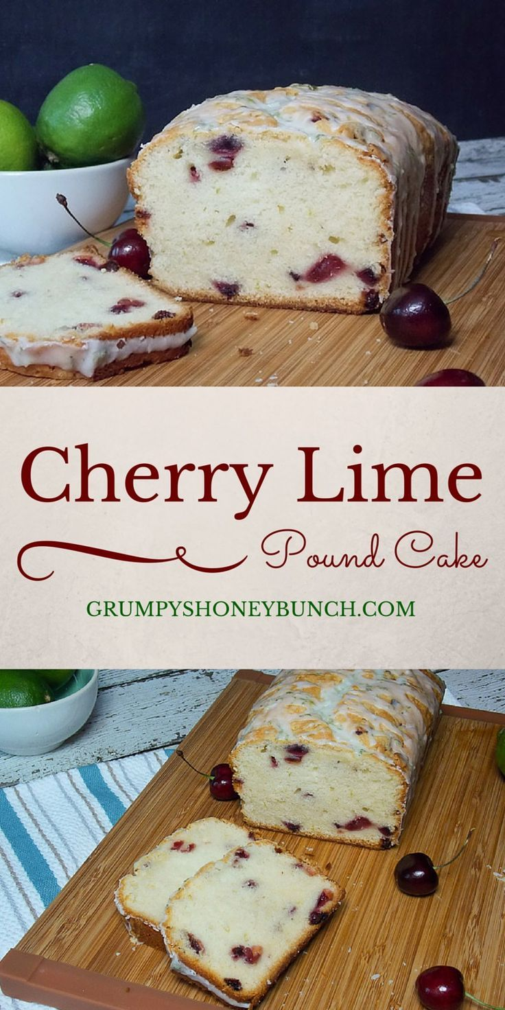 Cherry Pound Cake with Lime Glaze- A Buttery pound cake filled with fresh cherries, baked to a dense perfection and drizzled with a lime glaze. Amazing flavor and perfectly portable! #SundaySupper