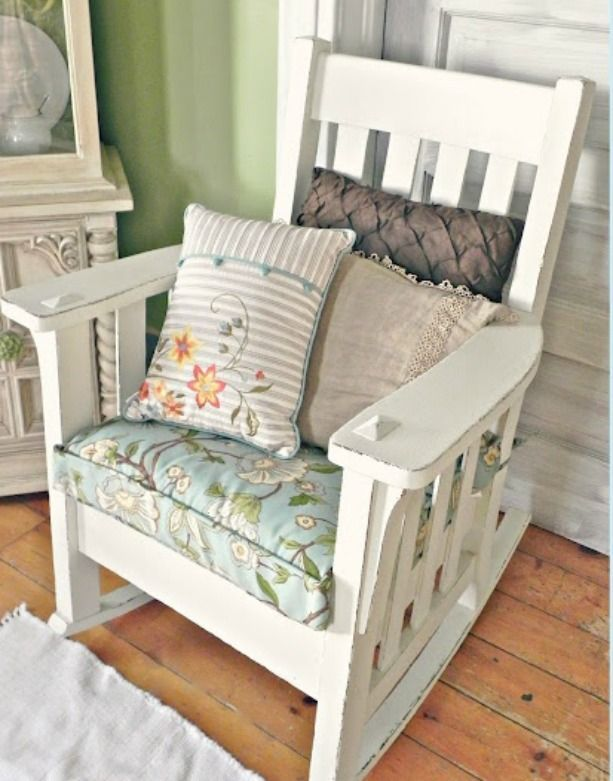 Cottage Rocker Mission Style Painted White Flea Market
