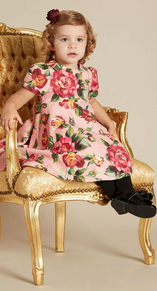 8ef1f3dc8516 DOLCE & GABBANA Girls Mini Me Pink Rose Dress. Spring Summer 2018.  #dolcegabbana #kids #girl #kidsfashion #girl #dress #fashion #style