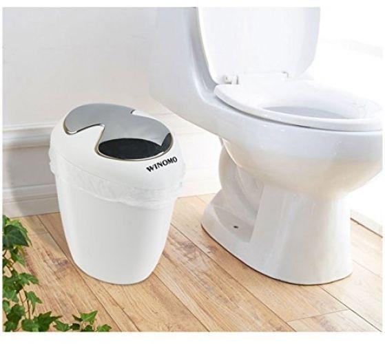 6.5 Liter Trash Bin Can Oval Swing Top Lip Bathroom Office White Box Dust  Basket