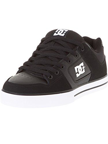 DC Shoes Mens Pure Black White Leather Trainers 8.5 US DC…