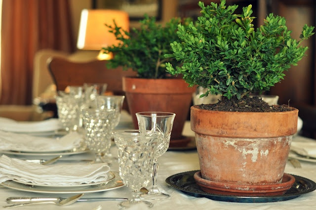 I love the baby boxwoods in clay pots as centerpieces.