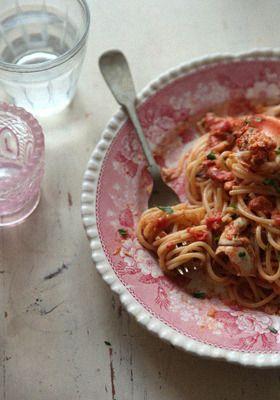 蟹トマトクリームパスタ+ レシピブログ