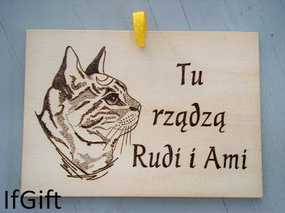 handmade picture of cat - wood burned