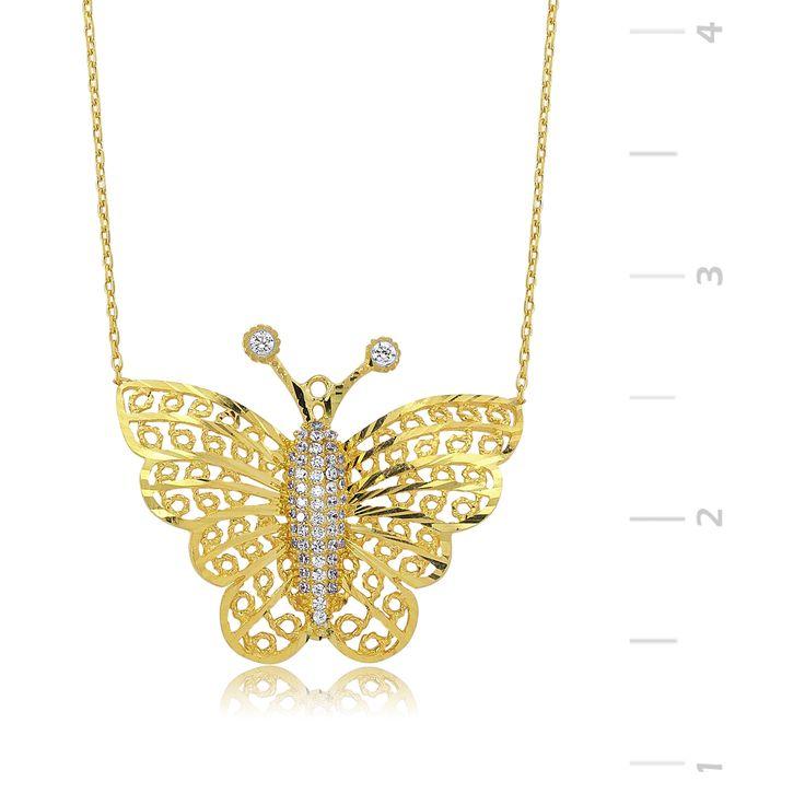 GUMUSH 925 Altın Kaplama Kelebek Gümüş Kolye :: Zinde Market