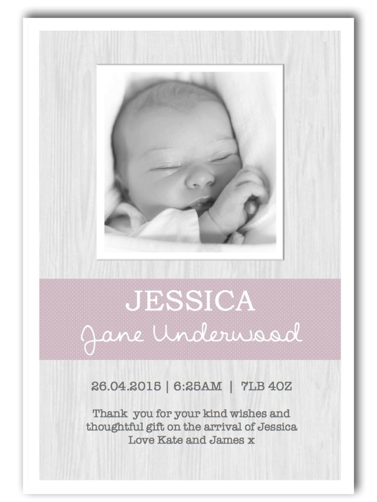 Personalised Photo Baby Girl Thank You Cards ~ £4.25 per pack of 10.