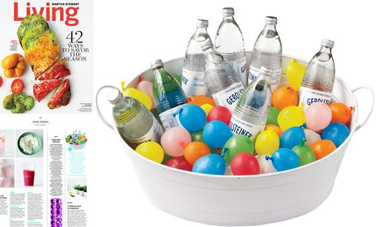 Instead of using ice, freeze water filled colorful balloons to use between your beverages.  A nice pop of color and once they melt, the ensuing water balloon fight will be a great way to cool off!