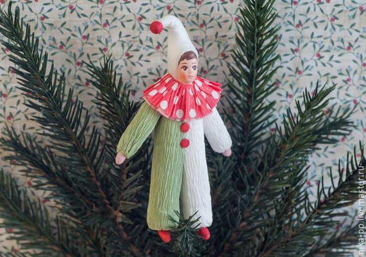 Ёлочная игрушка «Циркач» по мотивам старых игрушек из ваты и креповой бумаги - Ярмарка Мастеров - ручная работа, handmade