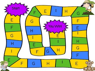 good game board for sight words. Put the first letter of the sight words in the spaces then when the student lands on the letter, they pick a card from that letter stack and say the word.