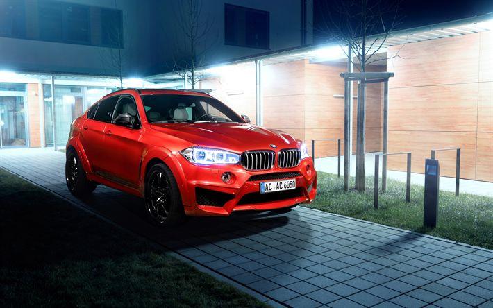 Download wallpapers BMW X6, 2018, 4k, luxury sports SUV, tuning X6, new red X6, German cars, night, F16, AC Schnitzer, BMW