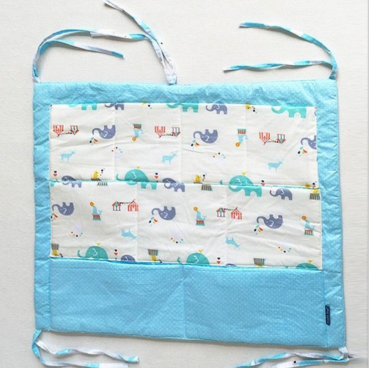 Promotion Muslin tree Baby Cot Bed Hanging Storage Bag 100%Cotton Crib Organizer Toy Diaper Pocket for Crib Bedding Sets