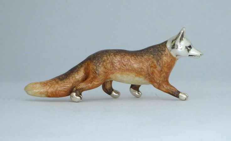 Fuchs Fox seltene Figur Italien Sterling Silber Emaille Italy