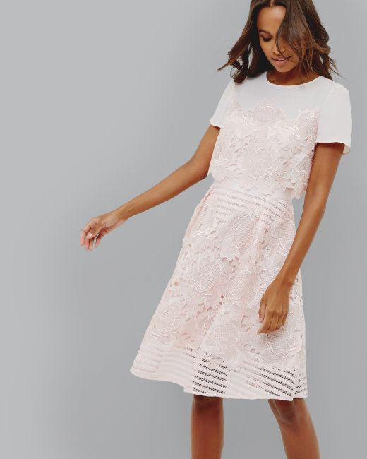 Layered lace dress - Pink | Dresses | Ted Baker