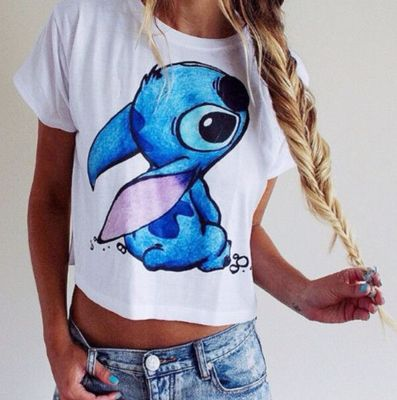 Reworked Lilo And Stitch Crop Shirt