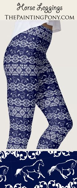 Horse Lover Legging pants - equestrian style fashion - cute blue leggings  with galloping horses and ponies on them. Comes in a few colors but they do  custom ... d97216d1b8dc