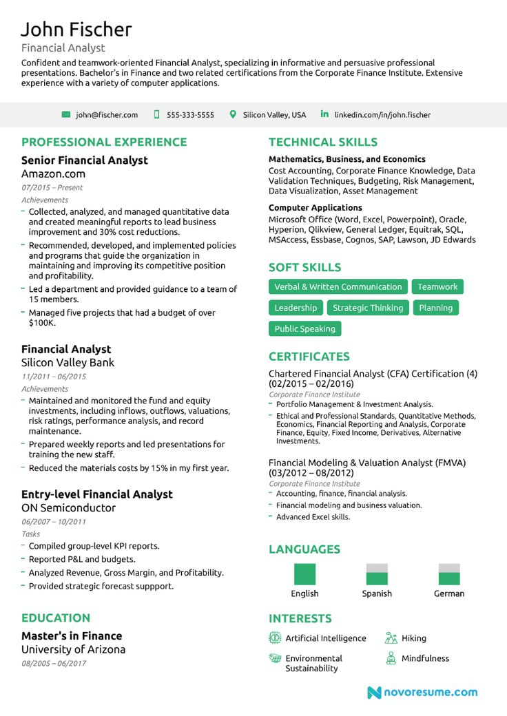 Financial Analyst Resume Guide Examples Within Credit