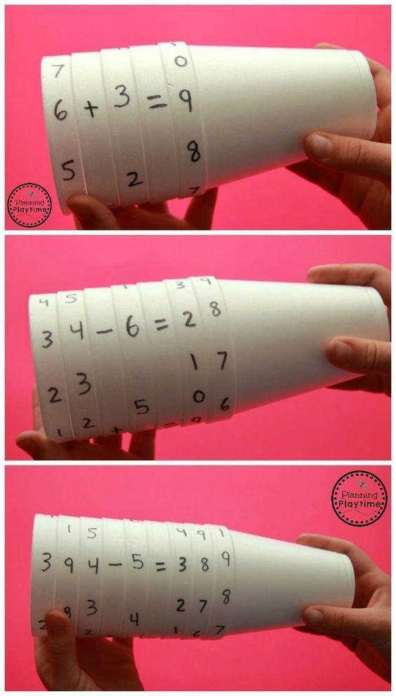Cup Equations Spinner Math Activity for Kids Rechnungen stecken, aufschreiben und rechnen #mathforkids