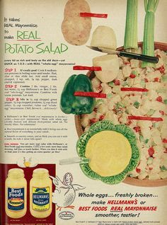 ... Food Ad, Hellmann's & Best Foods Mayonnaise, with Potato Salad Re...