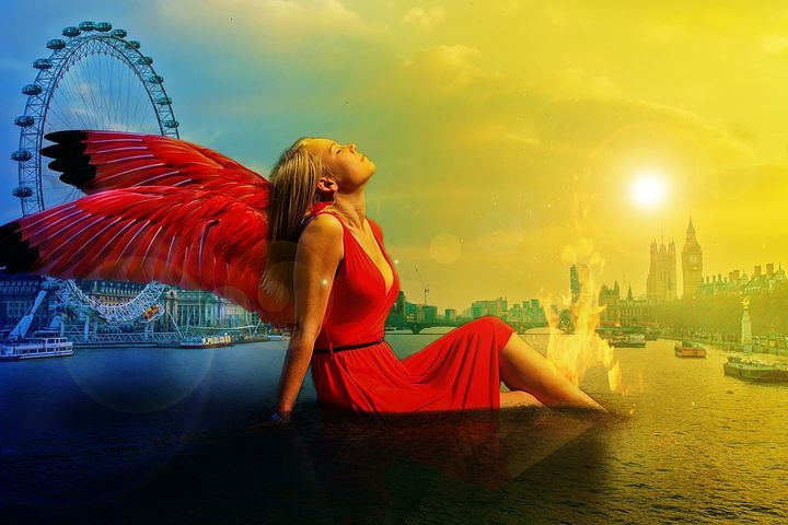 Woman, Angel, London, Female, Wings