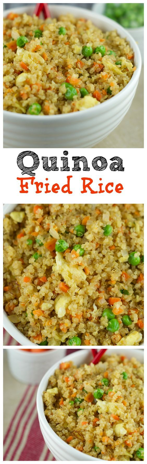 This Quinoa Fried Recipe requires only 10 minutes to make and it's so delicious. Fresh veggies and quinoa make a healthy and satisfying combination. Try it!: