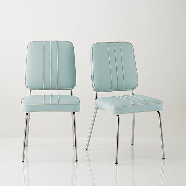 """2 Stühle """"Horing"""", Retro-Design im amerikanischen Stil, verchromter Stahl und Kunstleder"""