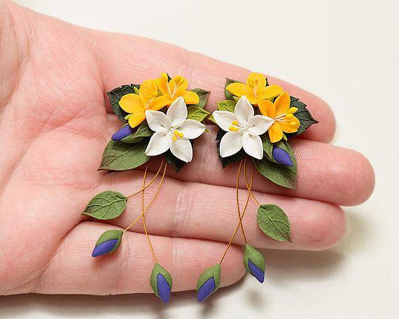 Handcrafted Orange Rose Handmade White Flower Blossom Clay Stud Boucles d/'oreilles Bijoux