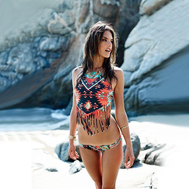 2017 verano nueva blusa entallada Sexy Triángulo de alta vendaje del cuello bikiní de La Borla Hollow out mujeres Trajes de Baño de Playa traje de Baño de baño